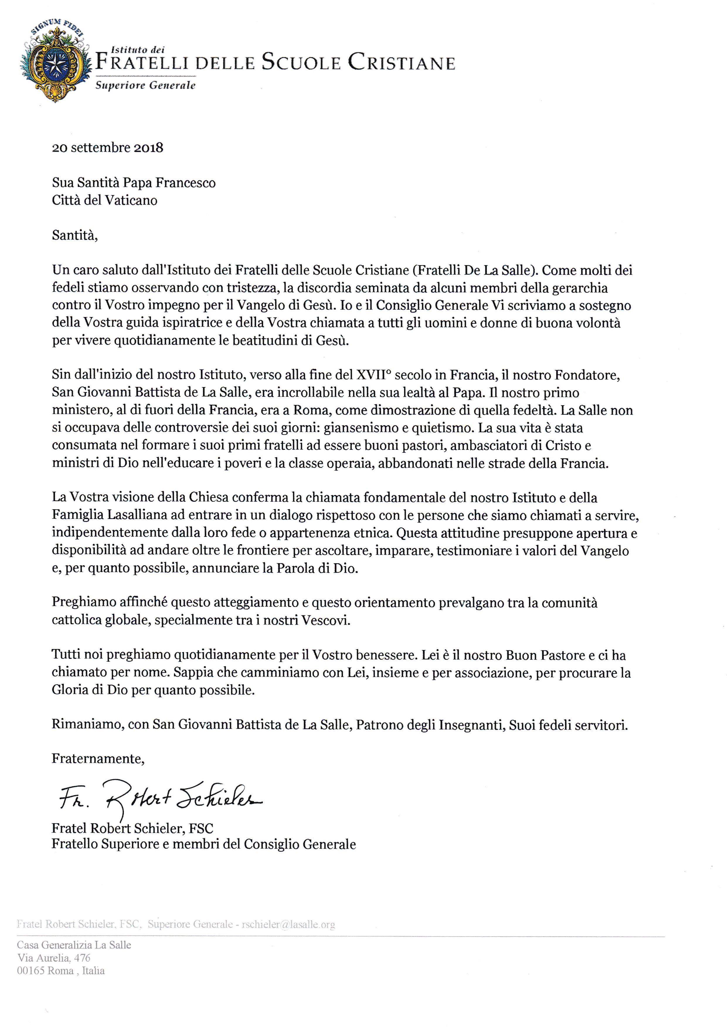 CARTA DEL HERMANO SUPERIOR AL PAPA. APOYO INSTITUCIONAL 20-SEP-2018