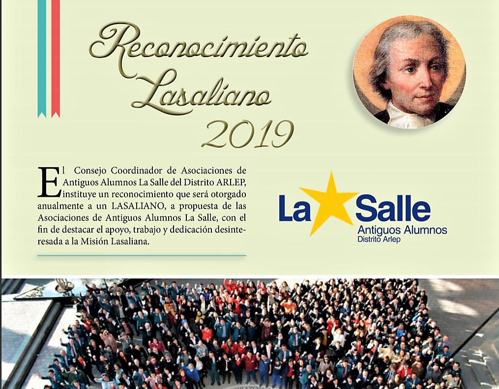 RECONOCIMIENTO LASALIANO LLAMADO A SERVIR 2019.LÍMITE 15 ABRIL 2019