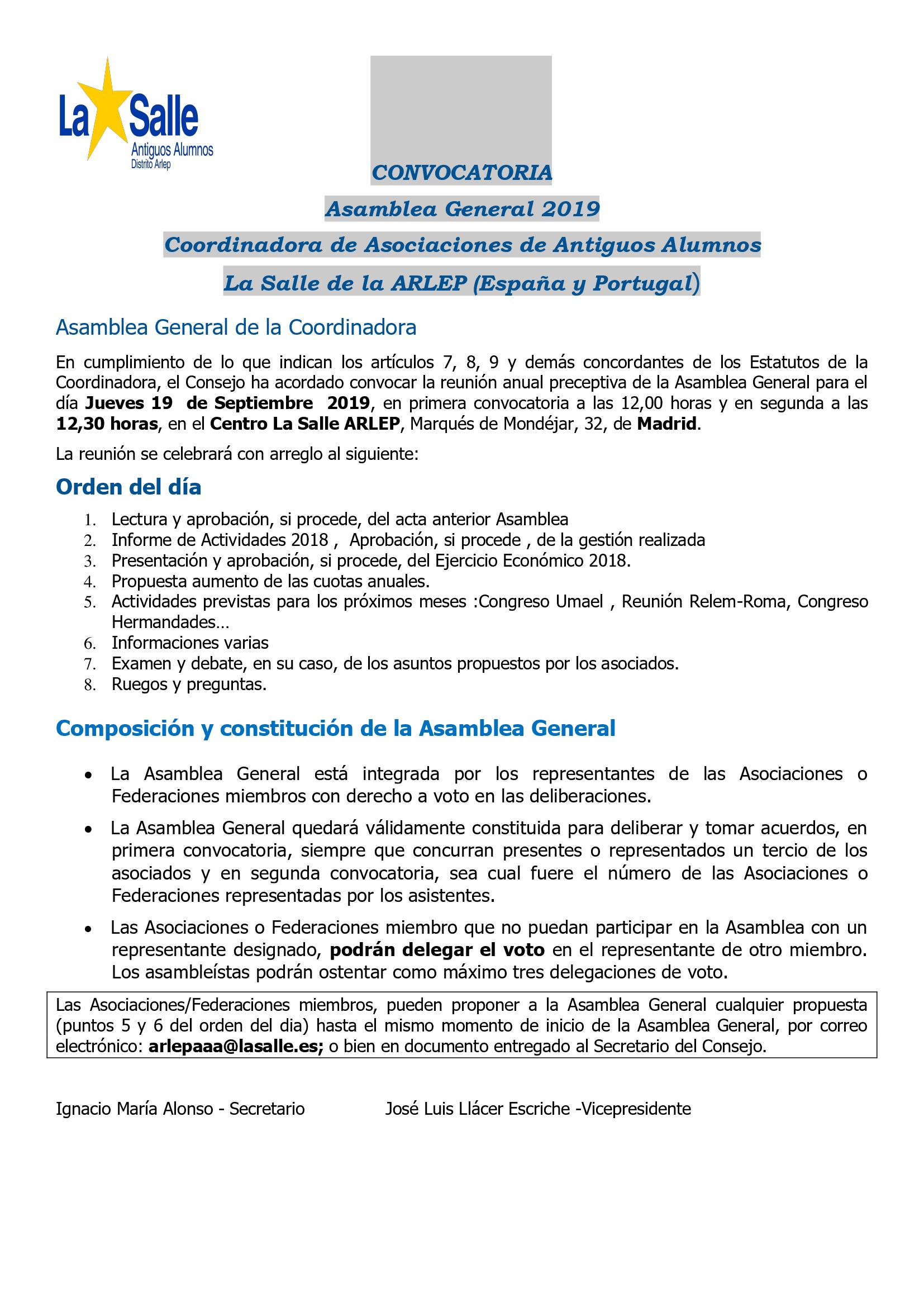 CONVOCATORIA ASAMBLEA AA.AA SALLE ARLEP (ESPAÑA Y PORTUGAL)