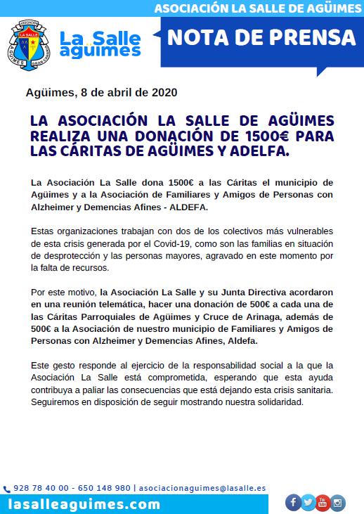 Donación de 1500€ a las Cáritas de Agüimes y Aldefa